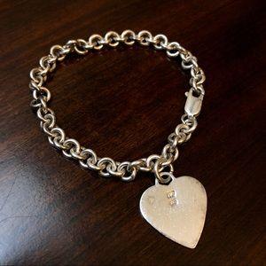 Jewelry - Sterling Silver Heart Charm Link Bracelet 925 NF